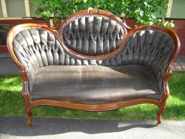 Renaissance Revival Medallion Back Sofa Frame Walnut C 1870 Original Repolished Finish As Is Horsehair Fabric Worn Cambric Torn